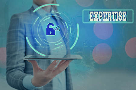 Text sign showing Expertise. Business photo text specific competences of skills gained through training practice Graphics padlock for web data information security application system