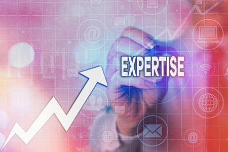 Writing note showing Expertise. Business concept for specific competences of skills gained through training practice Arrow symbol going upward showing significant achievement Zdjęcie Seryjne