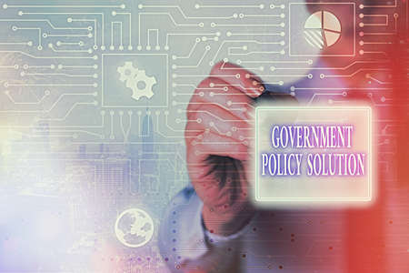 Handwriting text writing Government Policy Solution. Conceptual photo designed game plan created in response to emergency disaster System administrator control, gear configuration settings tools concept