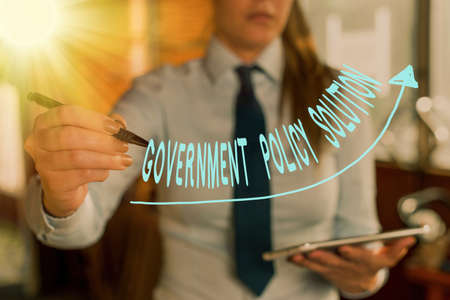 Text sign showing Government Policy Solution. Business photo showcasing designed game plan created in response to emergency disaster digital arrowhead curve rising upward denoting growth development concept