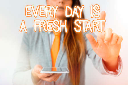 Handwriting text Every Day Is A Fresh Start. Conceptual photo an opportunity to start over without prejudice Model with pointing hand finger symbolizing navigation progress growth