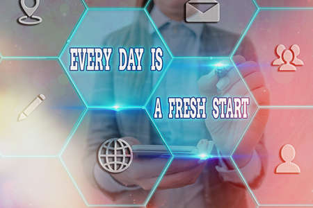 Word writing text Every Day Is A Fresh Start. Business photo showcasing an opportunity to start over without prejudice Grids and different set up of the icons latest digital technology concept