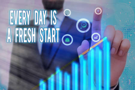Text sign showing Every Day Is A Fresh Start. Business photo text an opportunity to start over without prejudice Arrow symbol going upward denoting points showing significant achievement