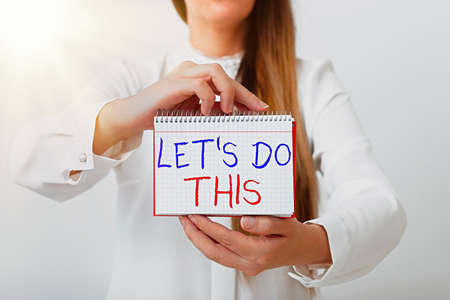 Text sign showing Let S Do This. Business photo text the act to agree on doing something or would like to do it Model displaying different empty color notepad mock-up for writing idea