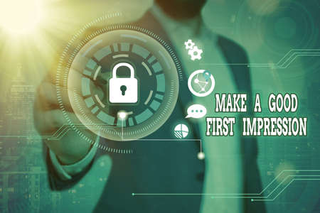 Word writing text Make A Good First Impression. Business photo showcasing Introduce yourself in a great look and mood Graphics padlock for web data information security application system