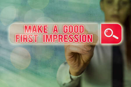 Writing note showing Make A Good First Impression. Business concept for Introduce yourself in a great look and mood Web search digital information futuristic technology network connection