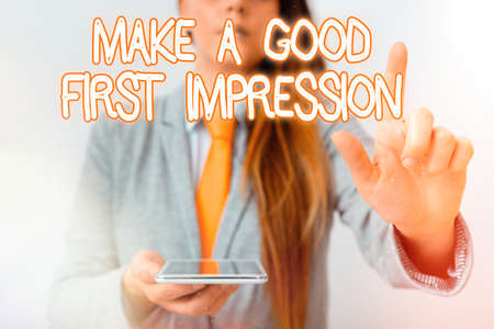 Handwriting text Make A Good First Impression. Conceptual photo Introduce yourself in a great look and mood Model with pointing hand finger symbolizing navigation progress growth