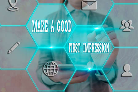 Word writing text Make A Good First Impression. Business photo showcasing Introduce yourself in a great look and mood Grids and different set up of the icons latest digital technology concept