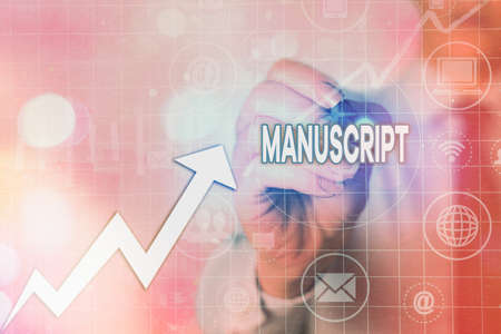Writing note showing Manuscript. Business concept for handwritten text or piece of music rather than typed or printed Arrow symbol going upward showing significant achievement