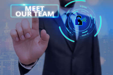 Conceptual hand writing showing Meet Our Team. Concept meaning introducing another an individual to your teammates in the company Graphics padlock for web data security application system