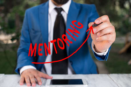 Text sign showing Mentoring. Business photo text an act or method of supporting and giving advice to a younger digital arrowhead curve rising upward denoting growth development concept