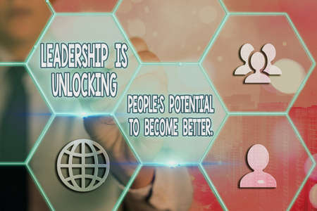 Conceptual hand writing showing Leadership Is Unlocking showing Potential To Become Better.. Concept meaning excel high Grids and different icons latest digital technology concept Standard-Bild - 151361502
