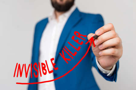 Word writing text Invisible Killer. Business photo showcasing presence into the air of a substance which are harmful digital arrowhead curve rising upward denoting growth development concept