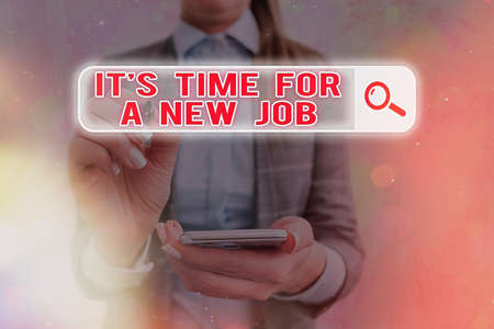 Text sign showing Its Time For A New Job. Business photo text looking for better management and opportunity Web search digital information futuristic technology network connection Standard-Bild