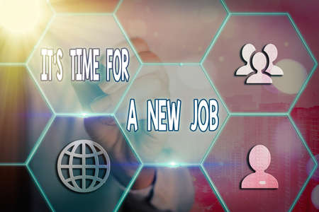 Conceptual hand writing showing Its Time For A New Job. Concept meaning looking for better management and opportunity Grids and different icons latest digital technology concept Standard-Bild