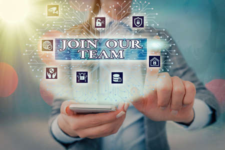 Handwriting text writing Join Our Team. Conceptual photo inviting someone into your local company or organization System administrator control, gear configuration settings tools concept Standard-Bild - 151362122