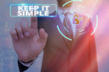 Conceptual hand writing showing Keep It Simple. Concept meaning ask something easy understand not go into too much detail Graphics padlock for web data security application system Standard-Bild