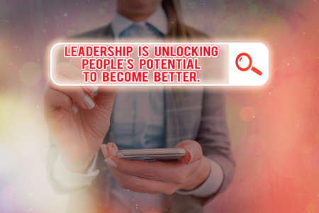 Text sign showing Leadership Is Unlocking showing Potential To Become Better.. Business photo text excel high Web search digital information futuristic technology network connection