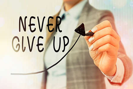 Conceptual hand writing showing Never Give Up. Concept meaning be persistent to keep on trying to improve the condition Digital arrowhead curve denoting growth development concept Standard-Bild - 151362497