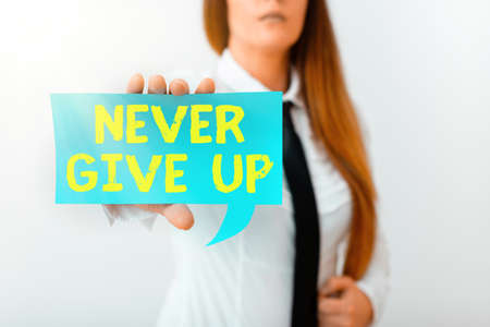 Writing note showing Never Give Up. Business concept for be persistent to keep on trying to improve the condition Displaying different color mock up notes for emphasizing content Standard-Bild