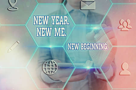 Word writing text New Year. New Me. New Beginning.. Business photo showcasing time for setting new goals for ourselves Grids and different set up of the icons latest digital technology concept Archivio Fotografico