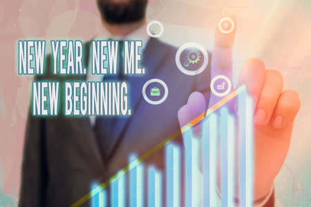 Text sign showing New Year. New Me. New Beginning.. Business photo text time for setting new goals for ourselves Arrow symbol going upward denoting points showing significant achievement