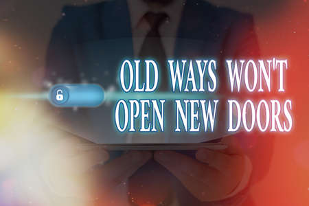 Word writing text Old Ways Wont Open New Doors. Business photo showcasing Making life changes New business venture Graphics padlock for web data information security application system