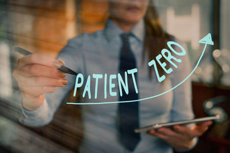 Text sign showing Patient Zero. Business photo showcasing primary disease carrier of the highlycontagious disease digital arrowhead curve rising upward denoting growth development concept