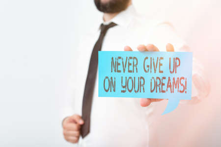 Conceptual hand writing showing Never Give Up On Your Dreams. Concept meaning Believing in yourself Walking the walk Displaying different color notes for emphasizing content