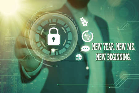 Word writing text New Year. New Me. New Beginning.. Business photo showcasing time for setting new goals for ourselves Graphics padlock for web data information security application system Archivio Fotografico