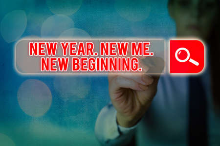 Writing note showing New Year. New Me. New Beginning.. Business concept for time for setting new goals for ourselves Web search digital information futuristic technology network connection
