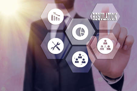 Text sign showing Regulation. Business photo text legislation or decision made and maintained by an authority Grids and different set up of the icons latest digital technology concept Stock Photo