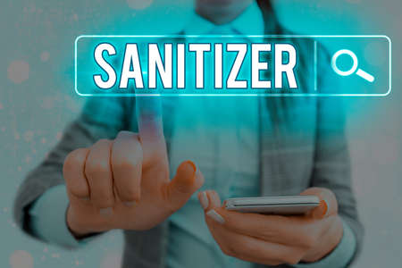Word writing text Sanitizer. Business photo showcasing liquid or gel generally used to decrease infectious agents Web search digital information futuristic technology network connection