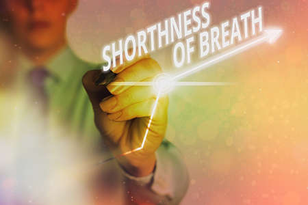 Word writing text Shorthness Of Breath. Business photo showcasing intense tightening of the airways causing breathing difficulty Arrow symbol going upward denoting points showing significant achievement