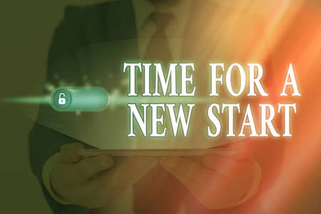 Word writing text Time For A New Start. Business photo showcasing the beginning of an event or process Kick off Graphics padlock for web data information security application system