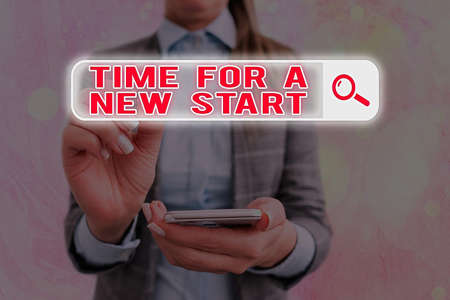 Text sign showing Time For A New Start. Business photo text the beginning of an event or process Kick off Web search digital information futuristic technology network connection