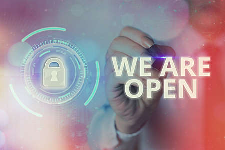 Text sign showing We Are Open. Business photo text no enclosing or confining barrier, accessible on all sides Graphics padlock for web data information security application system