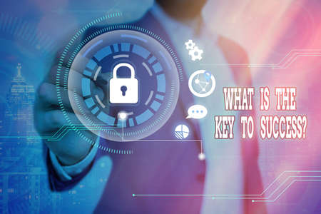 Word writing text What Is The Key To Success Question. Business photo showcasing asking for a formula to be successful Graphics padlock for web data information security application system