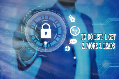 Word writing text To Do List: 1. Get 2. More 3. Leads. Business photo showcasing advertising plan to attract clients Graphics padlock for web data information security application system