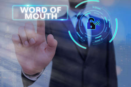 Conceptual hand writing showing Word Of Mouth. Concept meaning information that is transmitted without being written down Graphics padlock for web data security application system 免版税图像