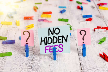 Text sign showing No Hidden Fees. Business photo showcasing without or zero bank charge, service charge, or extras Scribbled and crumbling sheet with paper clips placed on the wooden table Stock fotó - 151714212