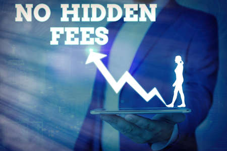 Word writing text No Hidden Fees. Business photo showcasing without or zero bank charge, service charge, or extras Arrow symbol going upward denoting points showing significant achievement Stock fotó - 151691987