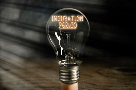 Conceptual hand writing showing Incubation Period. Concept meaning time elapsed starting from getting exposed to an infectious agent Realistic colored vintage light bulbs, idea sign solution Stockfoto