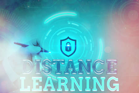 Conceptual hand writing showing Distance Learning. Concept meaning educational lectures broadcasted over the Internet remotely Graphics padlock for web data security application system