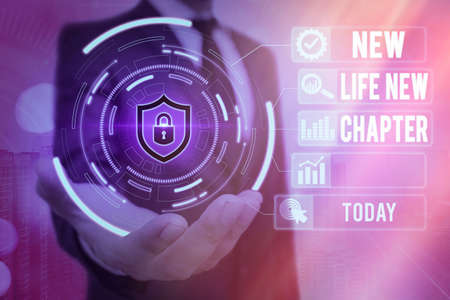 Word writing text New Life New Chapter. Business photo showcasing modification of brand or business Change opportunities Graphics padlock for web data information security application system