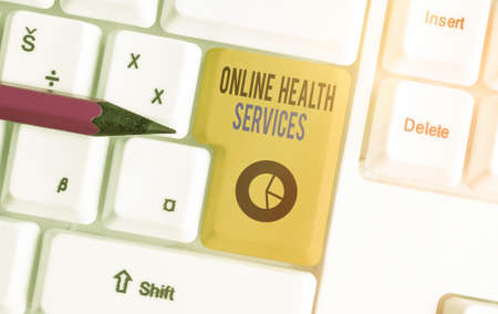 Conceptual hand writing showing Online Health Services. Concept meaning healthcare delivered and enhanced through the internet Colored keyboard key with accessories arranged on copy space Stock Photo