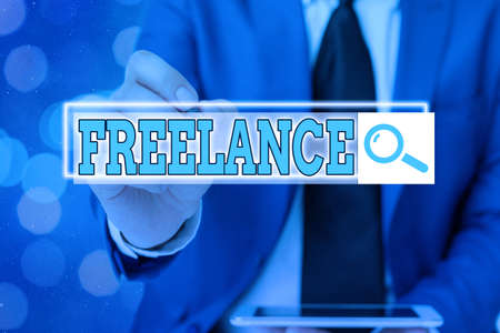Writing note showing Freelance. Business concept for working at different firms rather than being permanently Web search digital information futuristic technology network connection