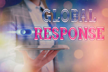 Text sign showing Global Response. Business photo showcasing indicates the behaviour of material away from impact point Graphics padlock for web data information security application system