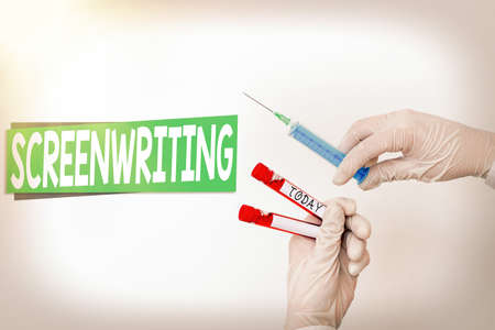 Word writing text Screenwriting. Business photo showcasing the art and craft of writing scripts for media communication Extracted blood sample vial ready for medical diagnostic examination Stockfoto