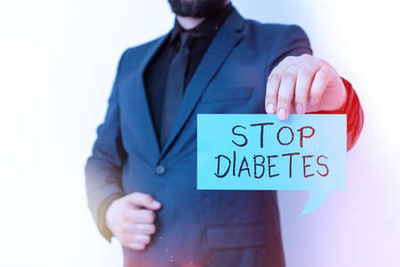 Writing note showing Stop Diabetes. Business concept for prevent the disease of elevated glucose level in the blood Displaying different color mock up notes for emphasizing content Stock Photo